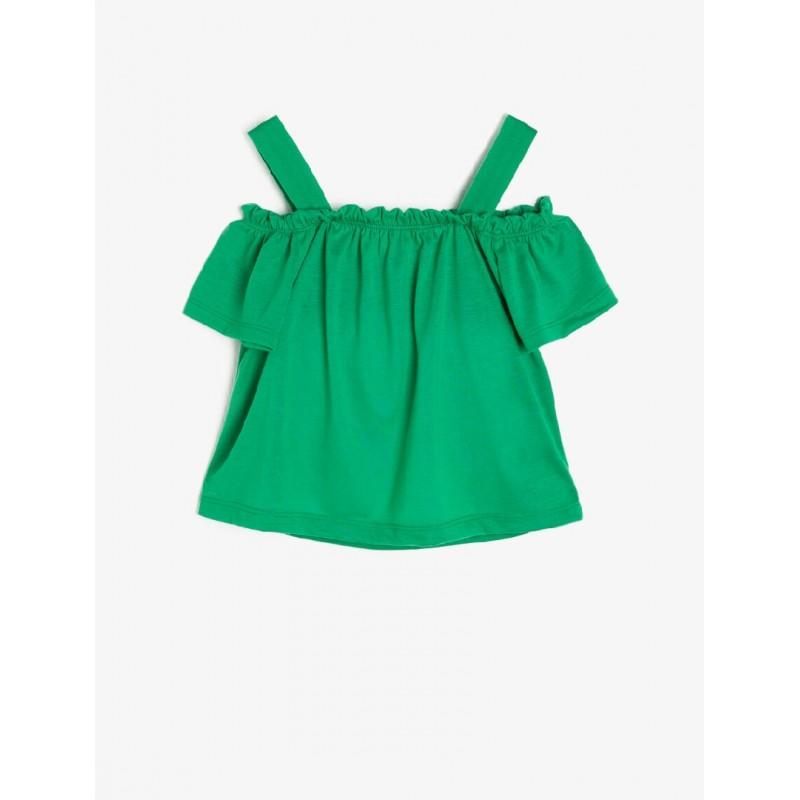 Omzu Açık T-Shirt Fıstık Yeşili